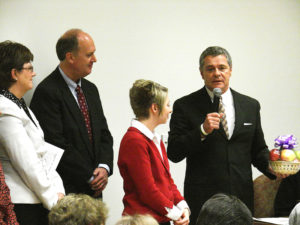 Stephanie Doyle (second from right) is honored by Roanoke Mayor David Bowers earlier this year.